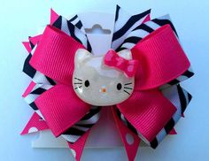 Zebra Hello Kitty Hair Bow by ScissorhandsCrafting on Etsy, $9.00, made by the most creative person I know & one of my closest friends!!!