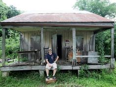 Houma, Louisiana ~ One of the owners sits on the porch of the oldst home in Terrebonne Parish in Houma. The cypress home was built in 1822. The 191 year old Acadian style house was home to Clarence and Sadie Hebert for nearly 90 years. Read story....