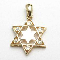 14k Yellow Gold Diamond Star of David Pendant Bezel from JewelryJudaica