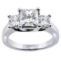 3 Stone Engagement Rings Princess Cut