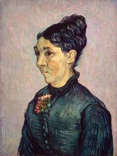 "Vincent van Gogh -- ""Portrait of Madame Trabuc"", 1889. Oil on canvas mounted on panel. 63.7 x 48 cm"