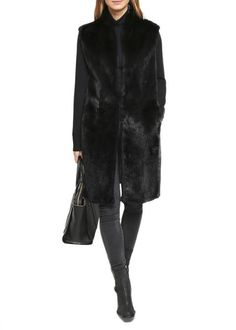 Jessimara Black Long Smart Mink Front Wool-Cashmere Blend Gilet