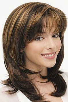 Women Brown Highlight Air Bang Medium Straight Synthetic Wig - One Size Shoulder Length Curly Hair, Curly Hair With Bangs, Haircuts With Bangs, Layered Haircuts, Short Shaggy Haircuts, Medium Hair Cuts, Medium Layered Hair, Medium Hair Styles, Curly Hair Styles