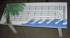 Coffee Table Cribbage Board   TROPICAL FEEL ART  by TheRightJack, $325.00