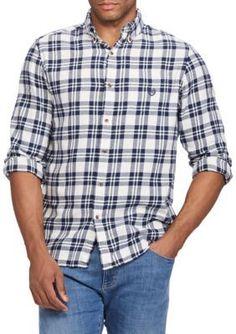 Chaps Men's Long Sleeve Flannel White Ground Plaid Button Down Shirt - White Sand - 2Xlt
