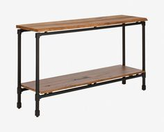 Scandinavian Designs - The Karsten console table offers versatile and charming style with rustic industrial materials. Crafted from natural poplar and powder-coated iron, it boasts a large profile and open design with ample space for storage or display.