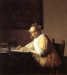Johannes Vermeer A Lady Writing a Letter, , National Gallery of Art, Washington. Read more about the symbolism and interpretation of A Lady Writing a Letter by Johannes Vermeer. National Gallery Of Art, National Art, Art Gallery, Johannes Vermeer, Delft, Rembrandt, Vermeer Paintings, Vermeer Artwork, Oil Paintings