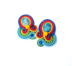 Rainbow Clip On Earrings Colorful Soutache by GiSoutacheJewelry