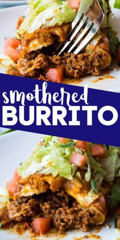 Smothered Burrito - - These large burritos made with ground beef,homemade taco seasoning, refried beans, and lots of melty cheese! Then smothered in homemade chili gravy. Ground Beef Burritos, Smothered Beef Burritos, Bean And Beef Burritos, Mexican Burritos, Homemade Chili, Homemade Tacos, Beef Burrito Recipe, Burrito Recipes, Frijoles Refritos