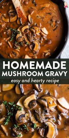 Make your own mushroom gravy with this easy and foolproof recipe! Rich and hearty, it\'s full of flavor and goes perfectl Hamburger Steaks, Easy Gravy Recipe, Meatloaf Gravy Recipe, Steak Gravy Recipe, Meatloaf With Gravy, Healthy Dinner Recipes, Vegetarian Recipes, Vegetarian Gravy Recipe, Beef Recipes