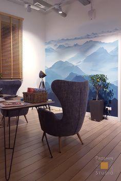 Рисунок на стене в офисе. Горы. Посмотрите, каким сильным стал кабинет, благодаря такой оригинальной росписи. http://rospissten.moscow/