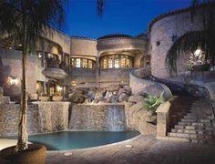 Tile Backyard, Pool & Waterfall Fountain