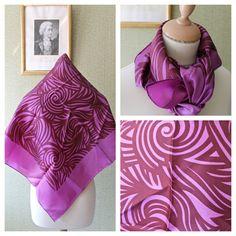1970s Marjatta Metsovaara Silk Scarf Purple Op Art by TweedOClock, €25.00