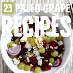 Grapes are a nice sweet fruit you can enjoy with Paleo, and I love how these chefs have incorporated grapes into these grape recipes. Arugula Salad Recipes, Quinoa Salad Recipes, Salad Recipes For Dinner, Easy Salad Recipes, Paleo Chicken Recipes, Paleo Recipes, Pecan Recipes, Delicious Recipes, Grape Recipes