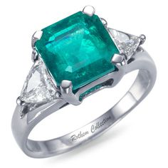 Natural Loose Certified Big 2.85 carat Square Emerald Birthstone Gemstone (Precious Stone), Pre-Set in a White Gold Engagement Ring with Side Trillion cut Diamonds.