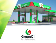 "Сorporate identity of gas station ""Greenoil"". Neon Box, Canopy Architecture, Filling Station, Led Signs, Signage Design, Jobs Apps, Exterior Design, Branding, How To Plan"