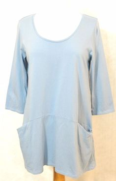 J Jill Blue SLOUCHY POCKETS Stretch JERSEY Knit Scoop Neck TUNIC Top Shirt S  #PureJill #Tunic #Casual