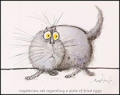 Vegetarian cat regarding a plate of fried eggs   Ronald Searle