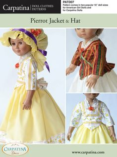 """Pierrot Jacket and Hat Doll Clothes Pattern as PDF File, Comes in 2 sizes: for 18"""" American Girl and slim Carpatina dolls. $6.95, via Etsy."""
