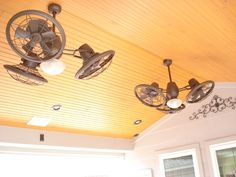 This A Closeup Of A Wood Ceiling With Rustic Styled Outdoor Ceiling Fans On  A Patio Cover And Roof Extension Designed And Built By Outdoor H.