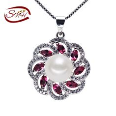 SNH sterling silver cultured freshwater Pearl Pendant Necklace Natural real genuine Pearl Silver Pendant Free Shipping