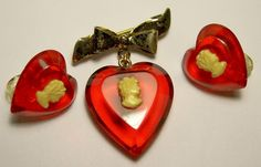 Vintage Sterling Silver - Red Lucite Cameo Heart Bow Pin Dress Clips