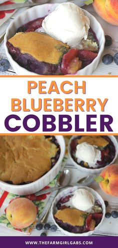Blueberries and peaches are the fruits of summer! They pair up in this easy cobbler recipe to make a delicious Blueberry Peach Cobbler. This homemade cobbler recipe is a perfect way to enjoy their summer bounty! Read this post for how to make a simple blueberry peach cobbler from scratch. Peach Blueberry Cobbler, Cobbler Recipe, Blueberries, Peaches, Baking Recipes, Great Recipes, Food To Make, Vegetarian, Homemade