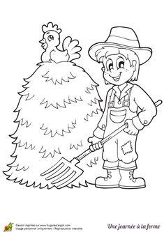 dessin du fermier avec sa meule de foin et son coq à colorier