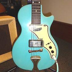 Vintage 1958-59 Supro Super Electric Guitar Rare Calypso Blue