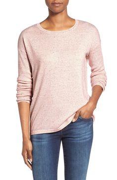 Halogen® Slit Back Nep Yarn Sweater (Regular & Petite) | Nordstrom