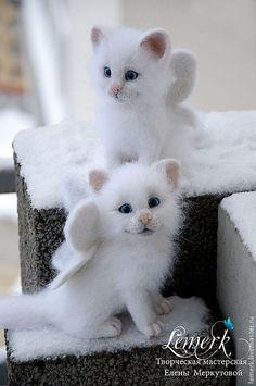 Снег и Снежа. Валяные белоснежные крылатые котята  #needlefelting