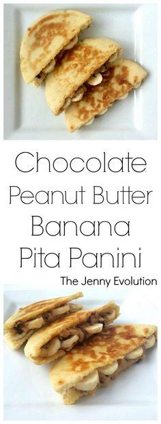 Trifecta Snack! Chocolate Peanut Butter Banana Pita Panini Recipe