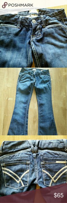 "William Rast Savoy Ultra Low Rise Jeans Dark Wash Beautiful Jeans - apart from some minor wear on cuffs and front button hole the Jeans are in Excellent condition. Measurements with pants laying flat - waist 29"" inseam 31"" Rise 6"" Leg Opening 9.5"" Note jeans are Tagged 26 but intact measure 29"" William Rast Jeans"