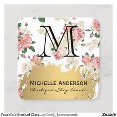 Faux Gold Brushed Classic Monogram Vintage Flower Square Business Card