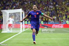 Radamel Falcao of Colombia celebrates after scoring his team's second goal during the 2018 FIFA World Cup Russia group H match between Poland and. Carlos Valderrama, Fifa World Cup, Poland, Russia, Goal, Soccer, Celebrities, Sports, Colombia
