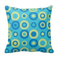 retro beat pop circle pattern on turquoise green background Turquoise Throw Pillows, Circle Pattern, Green Backgrounds, Decorative Throw Pillows, Give It To Me, Pop, Retro, Color, Accent Pillows