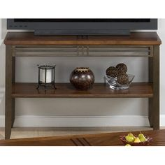 Jofran 536-4 - Barrington Cherry Sofa Table/Media Unit with Inlay Wood Top & Metal Apron and Legs | Sale Price: $316.25