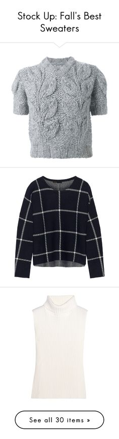 """""""Stock Up: Fall's Best Sweaters"""" by polyvore-editorial ❤ liked on Polyvore featuring fallsweaters, tops, sweaters, shirts, jumper, grey, gray shirt, gray short sleeve sweater, ribbed sweater and short sleeve sweater"""