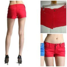 Spring Beach Hippie Low Rise Stretch Denim Mini Short Shorts Red S #NEW #MiniShortShorts