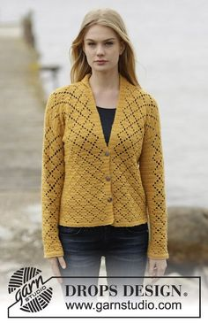 "Vintage Honeycomb / DROPS 166-17 - Crochet DROPS jacket with lace pattern in squares and shawl collar in ""Alpaca"". Size: S - XXXL."