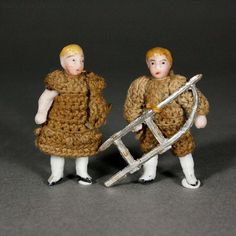 Pair of All-Bisque Tiny Dolls by Carl Horn with Sled and Teddy Bear from belle-epoque-dolls on Ruby Lane