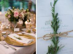 wedding menu / gold plate  photo: Catherine O'hara photography
