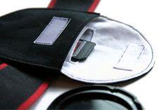 Camera Lens Cap Holder with Memory Card Pocket
