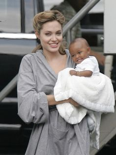 Angelina and Zahara Jolie-Pitt - celebrity mom. For more information on how to look good after baby go to www.auraimageconsulting.com