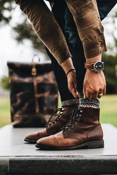 Cuff Check – Best Long boots outfit – Ways to Wear Boots The Definitive Guide Casual Boots, Men Casual, Mens Boots Fashion, Mens Hipster Boots, Rustic Mens Fashion, Mens Hairstyles With Beard, Stylish Mens Outfits, Mode Style, Dress Shoes