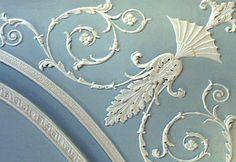 Robert Adam ceiling design inspiration. Light airy white filigree on soft powder blue - wow!