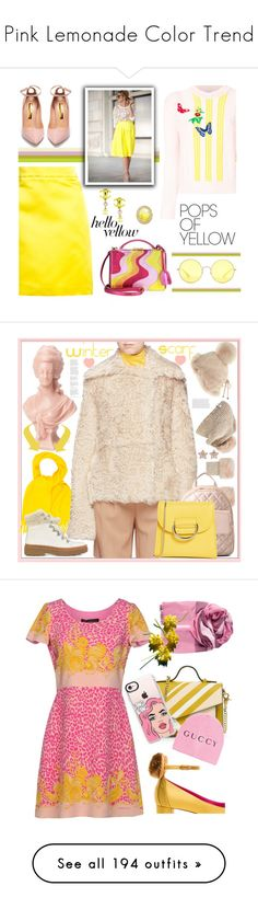 """""""Pink Lemonade Color Trend"""" by yours-styling-best-friend ❤ liked on Polyvore featuring Rupert Sanderson, ADAM, Mark Cross, VIVETTA, Chanel, Ray-Ban, PopsOfYellow, NYFWYellow, Paco Rabanne and Strathberry"""