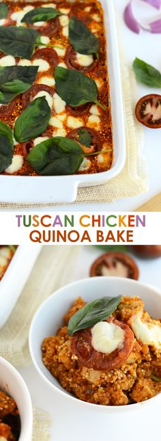 This Tuscan Chicken Quinoa Bake is packed with Italian flavors, kid-friendly, and has a whopping 40g protein per serving!
