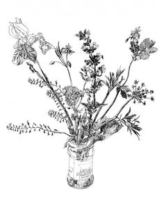 "Pen and Ink Wild Flower Drawing, Art Print of ""Garden Flowers"", Wildflower Tattoo, Decoupage, Simple Line Drawings, Mail Art, Botanical Illustration, Ink Art, Vintage Flowers, Colorful Flowers, Watercolor Flowers"