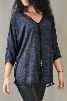 89c96b63f5d9 Γυναικεία μπλούζα νυχτερίδα MPLU-0776-bl Μπλούζες   Μπλούζες